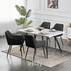 1/2/4/6 Dining Chairs Dark Grey Faux Leather Armchair with Armrest Lounge Office