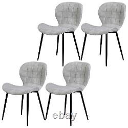1/2/4 Dining Chairs Faux Leather Padded Seat Metal Leg Kitchen Chair Home Office