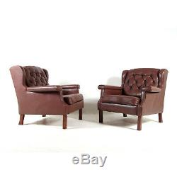 1 of 2 Retro Vintage Danish Leather & Teak Easy Chair Armchair 1960s 70s Modern