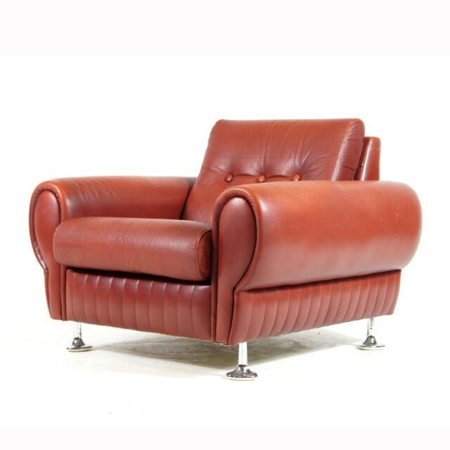 1 Of 3 Retro Vintage Danish Leather Lounge Chair Armchair 60s 70s Scandinavian