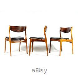 1 of 3 Retro Vintage Danish Rosewood Desk Office Side Chair Faux Leather 60s 70s
