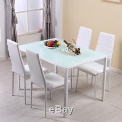 105cm Dining Table and 4 Faux Leather Padded Chairs Set Black White Home Office