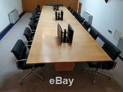 18 x Vitra Charles Eames EA208 Black Leather Boardroom Chairs