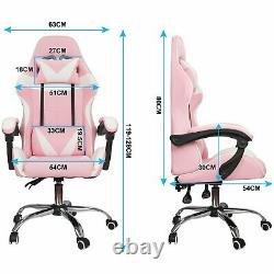 180° Racing Gaming Chairs Swivel Lift Office Recliner Computer Desk With Pillow
