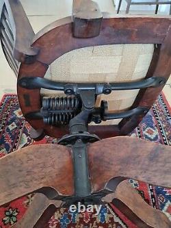 1920s industrial oak & leather swivel office desk chair captains chair