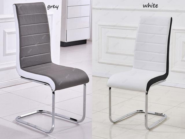2/4/6/8 Dining Room Faux Leather Grey/white Dining Chair High Back Chrome Office