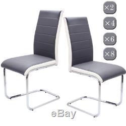 2 4 6 8 Grey &White Side High Back Faux Leather Dining Office Chairs Chrome Legs