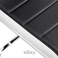 2 4 6 Black White Side High Back Dining Office Chairs Faux Leather Chrome Legs