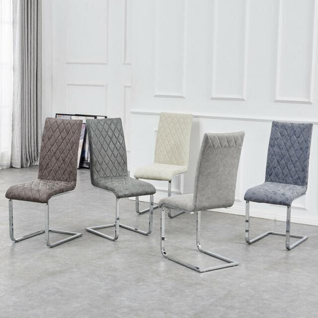 2/4/6 Curve Padded Back Dining Chairs Chrome Home Kitchen Office Meeting Seaters