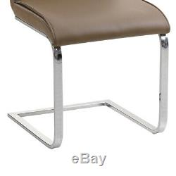 2/4/6 Faux Leather Dining Chairs Kitchen Chrome Legs Brown Padded Seat Office