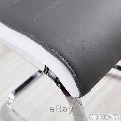2 4 6 Grey & White Side High Back Dining Office Chairs Faux Leather Chrome Legs