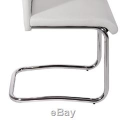 2/4/6 Pcs White Dining Chairs Faux Leather and Chrome Legs Home Office Furniture
