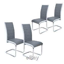 2/4 Dining Room Faux Leather Dining Chairs High Back Rest Chrome Modern Office