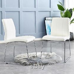 2 4 Dining Side Chairs Grey/Black/White Faux Leather Chrome Sled Base Leg Office