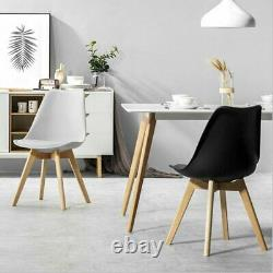 2 /4 Set Tulip Dining Chair Eiffel Retro Chair Wooden Plastic Padded Office Seat