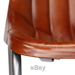 2 Dining Chairs Genuine Leather Stripes Kitchen Vintage style Office Home Brown