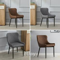 2 Faux Leather/PU Dining Chairs Grey Brown Office Chairs Padded Seat Kitchen