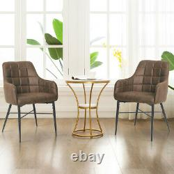 2 Luxury Dining Chairs Faux Leather Velvet Metal Legs Restaurant Accent Armchair