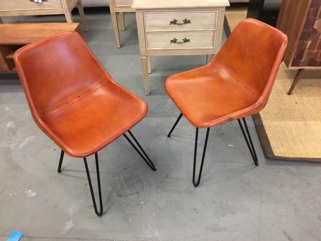 2 Made Kendal Swivel Office / Dining Chairs Brown Tan Leather, Black Metal Frame