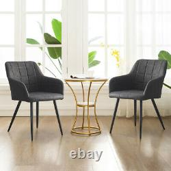 2 Pcs Grey Faux Leather PU Armchairs Dining Chairs Office Dining Room Retro