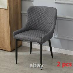 2 Pcs Grey Faux Leather PU Dining Chairs Office Chairs Metal Legs Dining Room