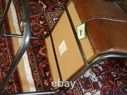2 Vintage Cantilever Z Shape Capri Leather Office or Dining Chairs Bauhaus Style