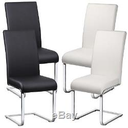 2 X Faux Leather Dining Room Chair Modern High Back&Chrome Legs Office Chairs