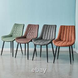 2 pcs Inspired Retro Dining Chairs Faux Leather Padded Seat Office Lounge Chair