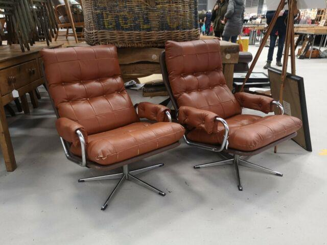 2 X Retro Tan Leather Swivel Office Chairs Free Delivery