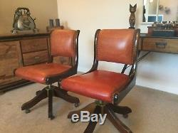 2 x vintage retro brown leather office desk swivel chairs