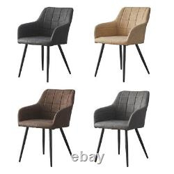 2PCS Dining Chairs Set Faux Leather Padded Metal Legs Reception Chair Armchair