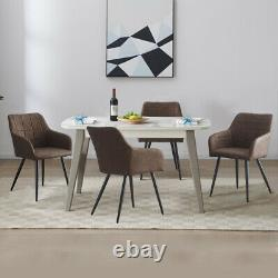 2X Brown Armchairs Faux Leather PU Dining Chairs Kitchen Office Chair Retro