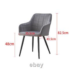 2X Dining Chairs Velvet / Faux Leather Cushion Office Chairs Metal Legs Office