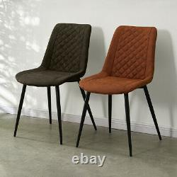 2X Faux Leather Dining Chairs Metal Legs Office Chairs Padded Cushion Kitchen