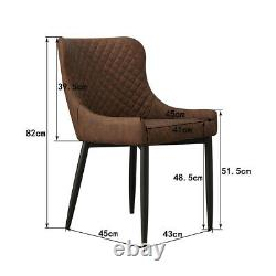 2X Retro Brown Faux Leather Dining Chairs Padded Seat PU Office Chairs Metal Leg
