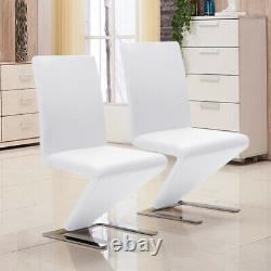2X White Z-Shaped Mermaid Leather Dining Meeting Chairs Kitchen Office Chair