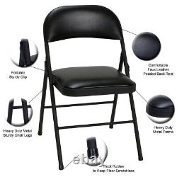 2x Chairs Strong Metal Frame Faux Leather Padded Folding Office Computer Chair