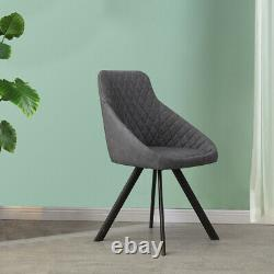 2x Grey&Brown Dining Chairs Set PU Faux Leather Padded Metal Legs Accent Chair