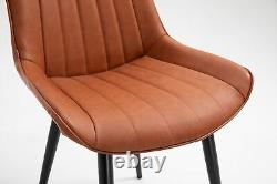 2x Modern Brown PU Leather Dining Chair with Metal Legs / Kitchen Home Office