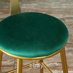 2x Velvet Bar Stools Bar Chairs Breakfast Dining Stools Home Office Kitchen Bar