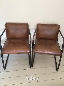 3 Coach House Artsome Dining/Office Chairs Vintage Leather Look Steel Frame