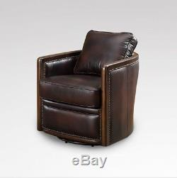 34 W Swivel base tub chair Vintage chocolate brown soft leather Office home