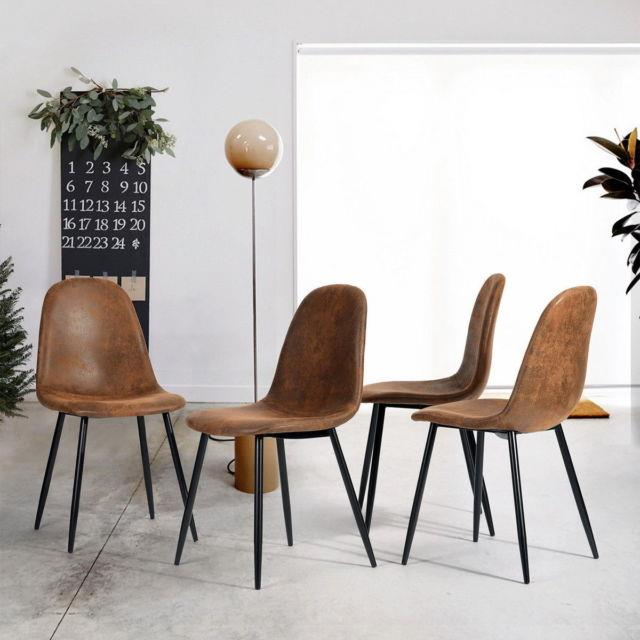 4 Pcs Suede Brown Padd Seat Furniture Kitchen Dining Office Working Chairs Set