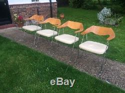 4 Robin Day Habitat Retro Vintage Wooden Leather Kitchen Dining Office Chairs