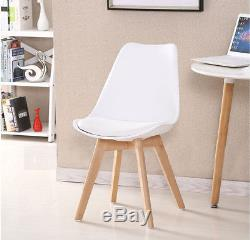 4×Tulip Eames Style Dining/Office Chairs-Solid Wood legs-Leather Cushion