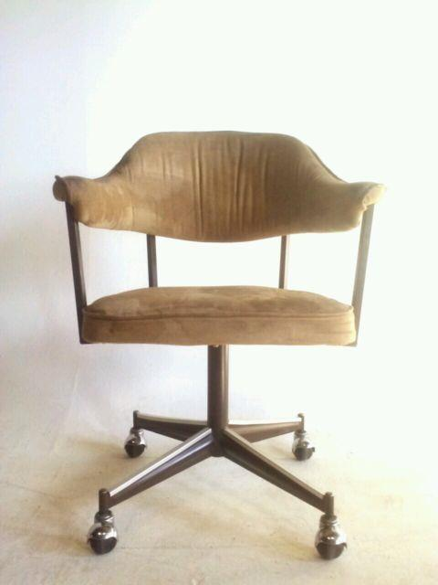 4 Vintage Faux Leather Dining Modern Chair Office Brass Swivel Clam Arm Baughman