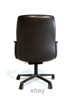 +4 Vintage Mid Century Modern Executive Office Leather Metal Steelcase Chair MCM