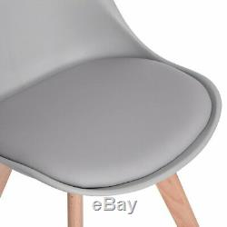 4 x Tulip Style Dining Chair Office Chair With Solid Wood Legs Padded Seat Grey