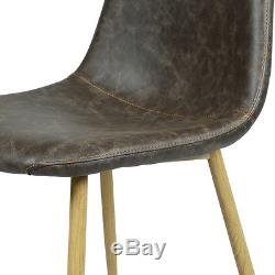 4PCS LivingRoom Kitchen Dining Chairs Charles Retro Style PU Leather Decor Chair