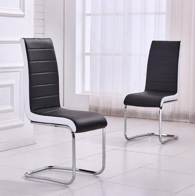 4x Black Faux Leather Dining Chairs High Back Office Chair & Chrome Leg Chairs